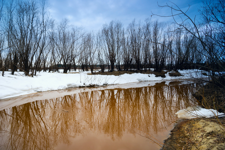 rivulet: Spring landscape with melting water in the rivulet . Siberia, Yugra.