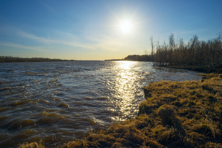 floodplain: Spring landscape . On the banks of the Ob river. Stock Photo