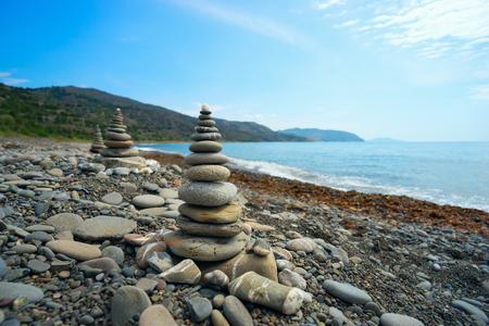 Pyramid from a sea pebble . Crimea ,the Black sea. Stock Photo