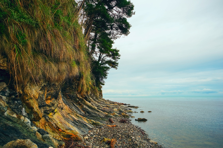 The coast with beautiful cliffs. Russia , Bukhta Inal Stock Photo