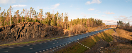 Panoramic view from the mountain along the route A-121 Sortavala in Karelia, Russia.