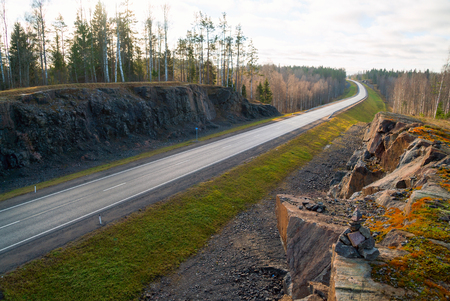 Autumn landscape of highway A-121 Sortavala in Karelia, Russia.