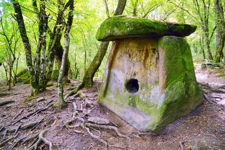 Ancient megalithic construction - the tile of the dolmen, the village of Pshada, Krasnodar Krai. Russia. Stok Fotoğraf