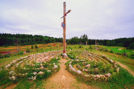 Slavic pagan temple in Sarande. Zanevsky urban settlement, Vsevolozhsky district, Leningrad region, Russia 免版税图像 - 112007246