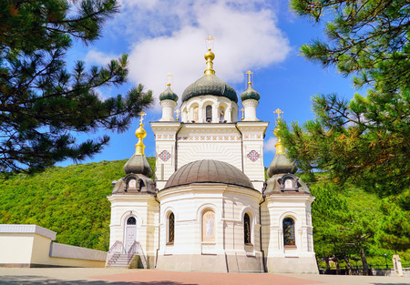 Church of the Resurrection of Christ over the village of foros. Stock Photo
