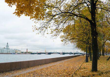 Admiralty embankment , Autumn landscape, St. Petersburg . Stock fotó