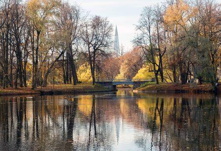 The pond in the late autumn .Elagin island. Saint-Petersburg Stock fotó