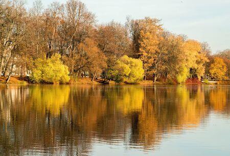 The pond in the late autumn .Elagin island. Saint-Petersburg Stock fotó - 133255281