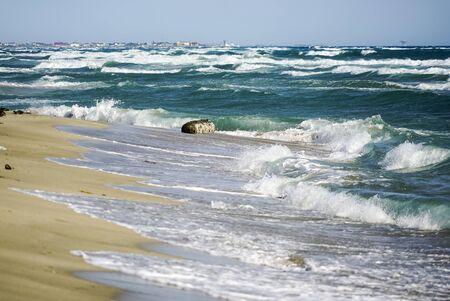 Big waves on the black sea. Spit Belyaus. Tarhankut. the village is peaceful .Crimea
