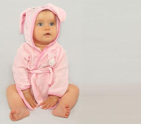 Little  wearing a rabbit bathrobe Stok Fotoğraf