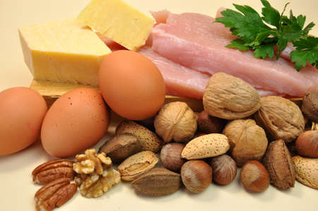 Healthy Diet food group, proteins, include meat  chicken or turkey , cheese, eggs and nuts