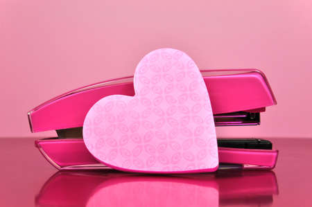 Attrayant Pretty In Pink Office Accessories Stapler And Pink Heart Shaped.. Stock  Photo, Picture And Royalty Free Image. Image 16679324.