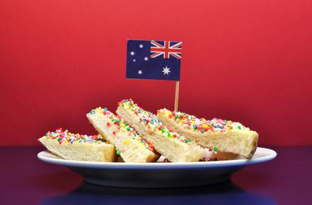 tucker: Australia Day January 26, celebrate with traditional Aussie tucker food such as fairy bread with an Australian flag