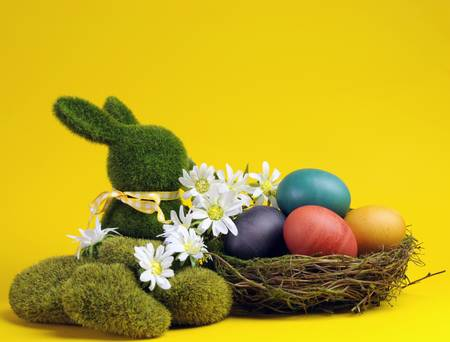 Yellow theme Happy Easter scene still life with grass bunny rabbit with rainbow color eggs in a nest with white daisies  photo