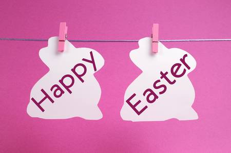 Two bunny rabbit shape Easter cards hanging from pegs on a line, with Happy Easter message in pink  photo