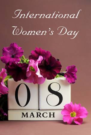 womens day: Save the date white block calendar for International Women - vertical