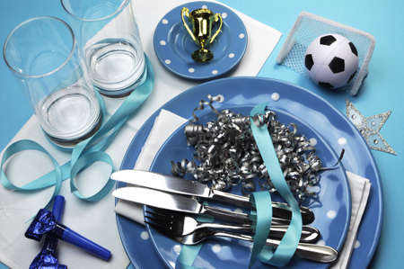 Soccer football celebration party table settings in light  sky  blue and white team colors