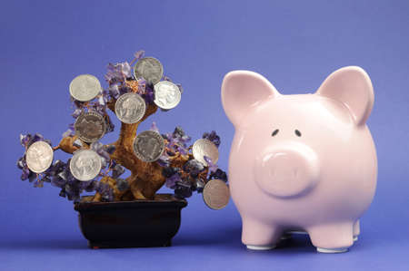 australian money: Money Tree and Savings concept with coins hanging from a crystal tree with Piggy Bank against a blue background  Stock Photo