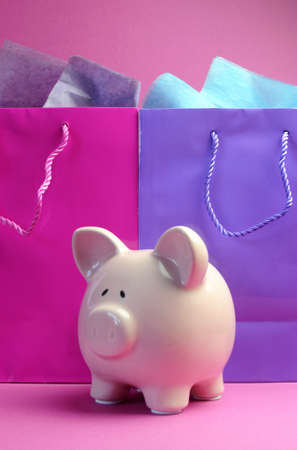 retail therapy: Retail therapy, I love shopping, concept with colorful shopping bags against a pink background, with piggy bank, vertical