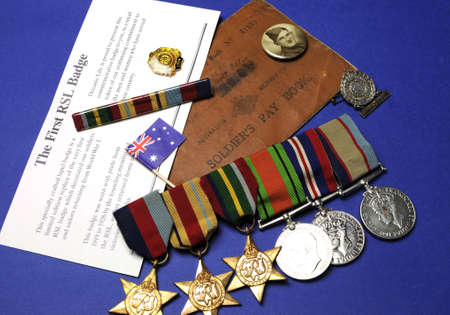 anzac: WWII Australian military army corps medals and memorabillia for ANZAC Day April 25, Remembrance Day November 11, or Australian military