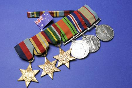 anzac: WWII Australian military army corps campaign medals for ANZAC Day April 25, Remembrance Day November 11, or Australian military