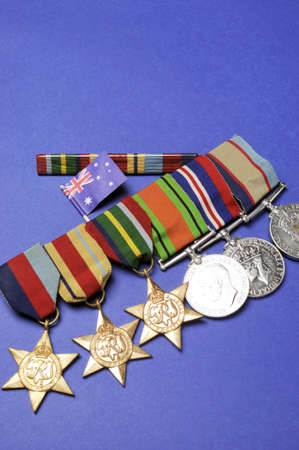 anzac: WWII Australian military army corps campaign medals for ANZAC Day April 25, Remembrance Day November 11, or Australian military - vertical