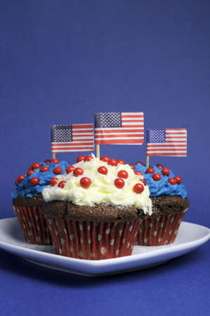 Fourth 4th of July party celebration with red, white and blue chocolate cupcakes on white heart plate and USA American flags - vertical with copyspace for your text here  Stock Photo - 18909136