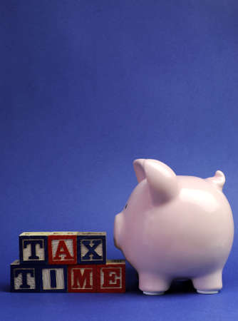 31: Pink piggy bank with Tax Time message on building blocks for Tax Day or End of Financial Year financial returns or retail stock-take sales. Vertical with copy space for your text here. Stock Photo