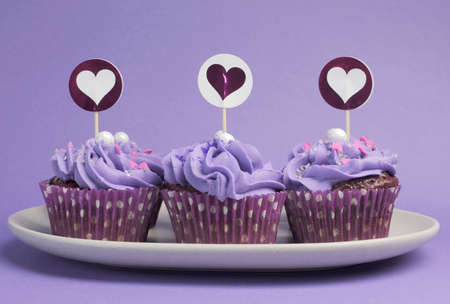 Mauve purple decorated cupcakes for children or teens birthday, or bachelorette, bridal or baby shower party function  photo