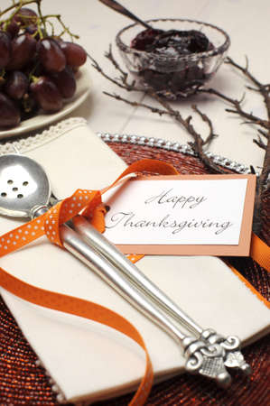 Happy Thanksgiving lunch, brunch or casual modern dining shabby chic table with autumn fall color theme and grapes, jelly and nuts  Close up  Stock Photo - 21723964