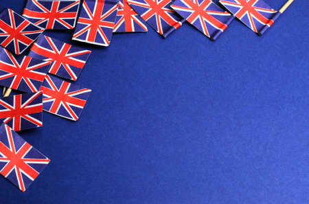 britain flag: Abstract background of UK Unioun Jack Great Britian, red white and blue,  national toothpick flags for national emblem or public holiday event, with copy space for your text here