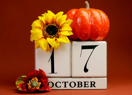 Save the Date white block calendar for October 17 with autumn fall colors, fruit and flowers theme for birthdays, individual special occasions, holidays and events
