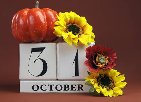 Save the Date white block calendar for October 31 with autumn fall colors, fruit and flowers theme for birthdays, individual special occasions, holidays and events.