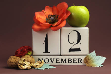 special events: Save the Date seasonal individual calendar for November 12 with Autumn colors, fruit and flowers Fall theme for birthdays, individual special occasions, holidays and events.