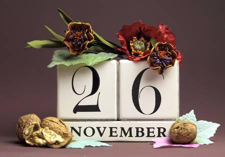calendario noviembre: Guardar el calendario individuo estacional Fecha para el 26 de noviembre con los colores del otoño, frutas y flores de otoño tema para los cumpleaños, ocasiones especiales individuales, fiestas y eventos