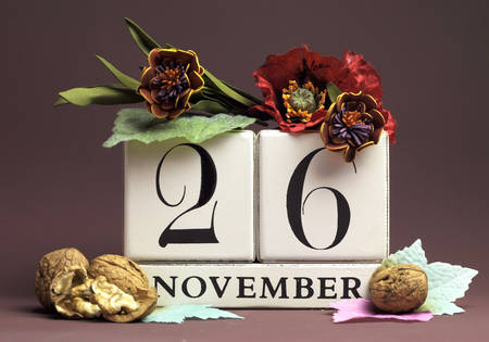 special individual: Save the Date seasonal individual calendar for November 26 with Autumn colors, fruit and flowers Fall theme for birthdays, individual special occasions, holidays and events