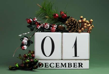 calendario diciembre: 01 de diciembre: Guardar el calendario de la fecha con los colores del tema de invierno, frutas y flores, para cumpleaños, ocasiones especiales, días de fiesta, bodas, eventos de sitios web, o día de Navidad Calendario de Adviento.