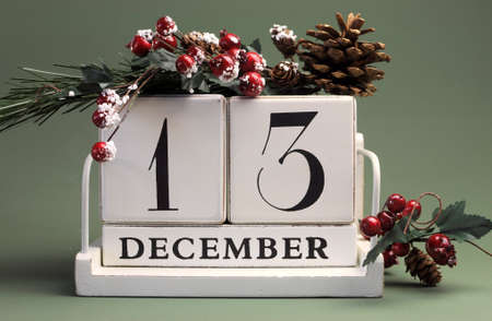 calendario diciembre: Guardar el calendario de la fecha con los colores del tema de invierno, frutas y flores, para cumpleaños, ocasiones especiales, días de fiesta, bodas, eventos de página web, o la Navidad días de calendario de Adviento, día 13 de diciembre Foto de archivo