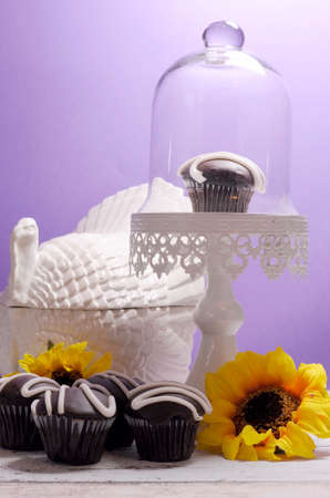 Autumn Thanksgiving theme chocolate cupcakes with turkey tureen and sunflowers on shabby chic table against a purple wall. Back-lit. photo