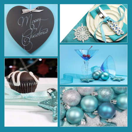 Aqua blue theme Merry Christmas and Happy Holidays collage of blackboard greeting, table setting, baubles, and festive martini cocktail glasses. photo