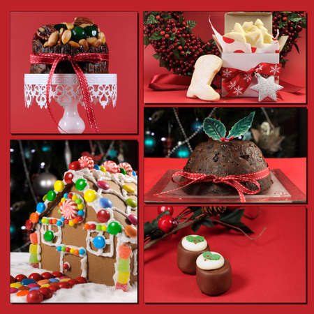 plum pudding: Tema Natale rosso Collage alimentare, comprese, plum pudding, torta di frutta Natale, casa di marzapane, cioccolatini, e Santa avvio shortbread.