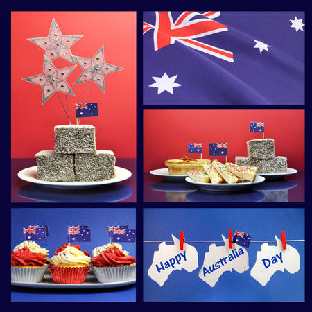 australia day: Happy Australia Day, January 26, collage of five images