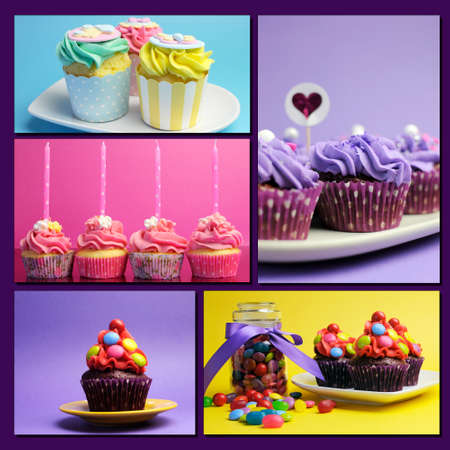 chrstmas: Colorful collage of bright color cupcakes for birthday, wedding, halloween, Chrstmas, baby or bridal shower, and wedding special occasions.