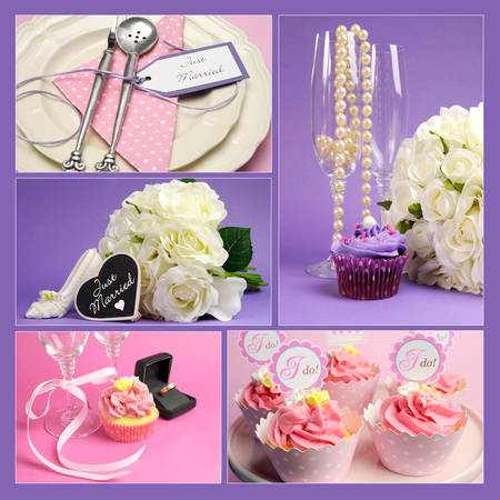 Wedding collage of five images  photo