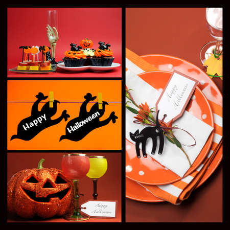 Happy Halloween collage of four food and drink theme party images.