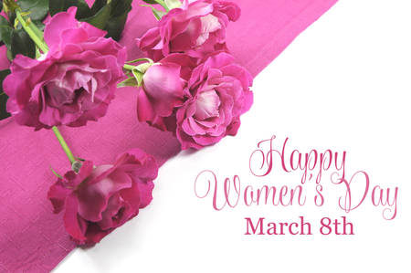 Happy International Womens Day, March 8, celebration greeting message with pink roses  Stock Photo