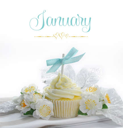 Beautiful white snow theme cupcake with seasonal flowers and decorations for the month of January with sample text or copy space for your text here. photo