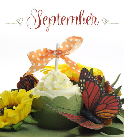 Beautiful Autumn Fall theme cupcake with autumn seasonal flowers and decorations for the month of September with sample text or copy space for your text here  photo