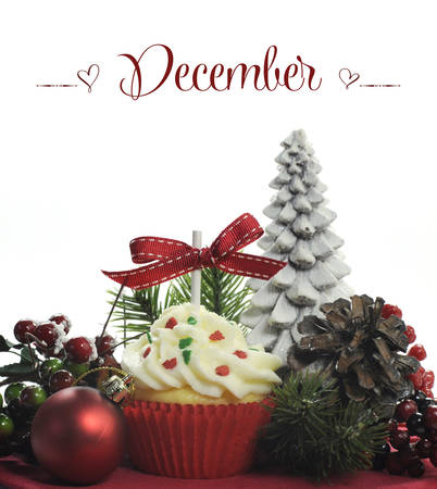 Beautiful Christmas holiday theme cupcake with seasonal flowers and decorations for the month of December with sample text or copy space for your text here  photo