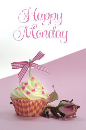 Pretty pink cupcake with pale pink silk rose bud on pink with Happy Monday sample text or copy space for your text here  photo